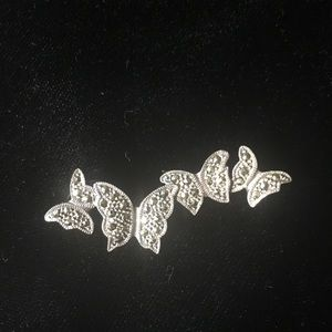 Jewelry - Vintage silver and marcasite butterfly pin.